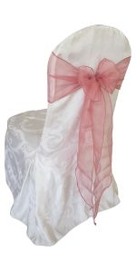white damask chair cover rose sash