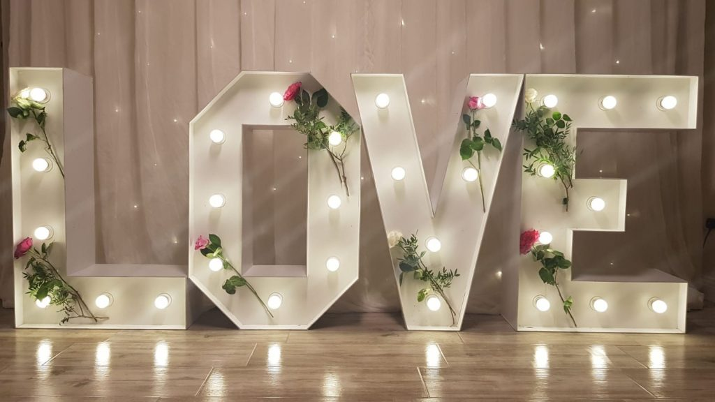 Light up love letters accessories and finishing touches